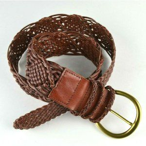 "Aldo Woven Brown Leather Belt 2"" Wide Braided"